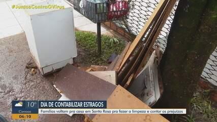 Famílias limpam casas e contabilizam prejuízos após chuva intensa em Santa Rosa