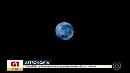 Astronomia: calendário data fenômenos celestes que podem ser vistos a olho nu