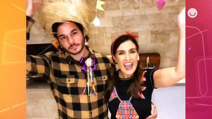 Fátima Bernardes promove festa julina virtual com a equipe do 'Encontro'