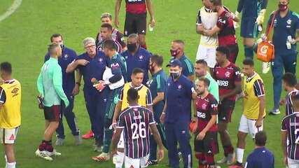 Expulsão de Gabigol e fim da partida geraram grande confusão entre integrantes de Flamengo e Fluminense