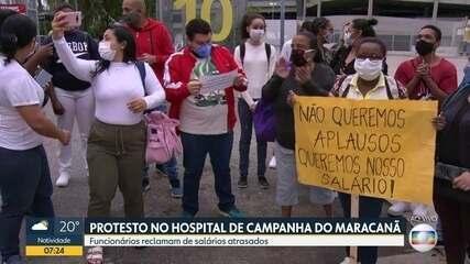 Funcionário do Hospital de Campanha do Maracanã fazem protesto