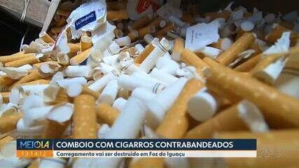 Carregamento de cigarros contrabandeado é destruído em Foz do Iguaçu