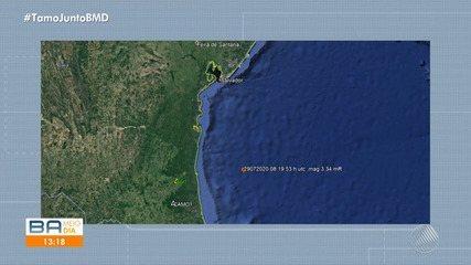 Tremor de magnitude 3,5 é registrado na costa do litoral da Bahia; confira