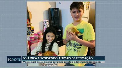 Mãe compra galo e galinha para filho autista e é denunciada por vizinhos em Cascavel