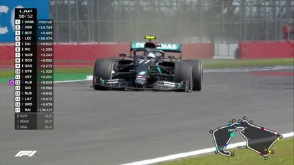 Pneu de Bottas fura e Verstappen faz ultrapassagem no GP da Inglaterra
