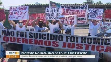 Familiares de militar encontrado morto fazem protesto em frente a Batalhão do Exército