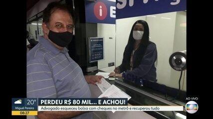Advogado esquece bolsa com R$ 80 mil em cheques no metrô do Rio
