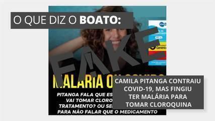 É #FAKE que Camila Pitanga contraiu Covid-19, mas fingiu ter malária para tomar cloroquina