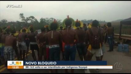 Indígenas Kaiapós mantém interdição na BR-163 pelo terceiro dia