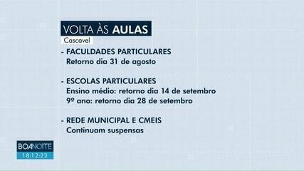 Prefeitura de Cascavel autoriza o retorno das aulas nas escolas e faculdades particulares