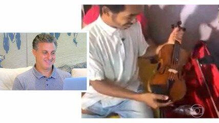 Luciano surpreende o violinista Gabriel Paixão