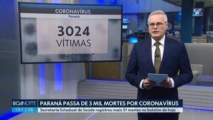 Paraná passa de três mil mortes confirmadas por coronavírus