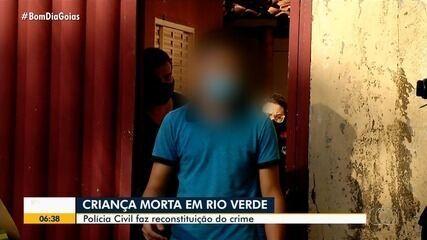 Polícia faz reconstituição da morte de bebê em Rio Verde; padrasto confessou crime