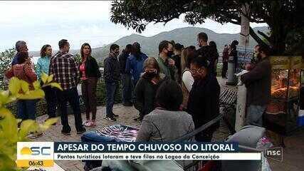 Pontos turísticos de Florianópolis registram aglomerações neste domingo