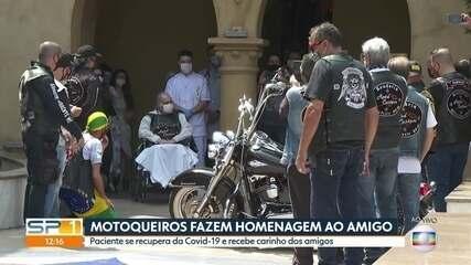 Motoqueiros fazem homenagem para amigo que se recuperou do novo coronavírus