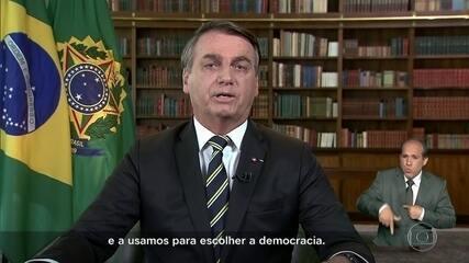 Bolsonaro destaca importância da democracia em pronunciamento sobre o 7 de Setembro