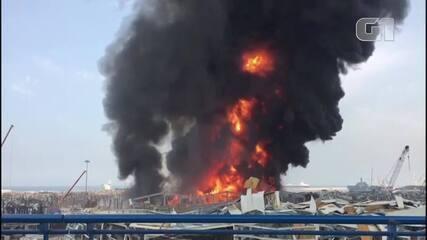 Incêndio atinge ponto de Beirute, onde houve megaexplosão há um mês