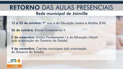 Prefeitura de Joinville confirma retorno das aulas presenciais em outubro