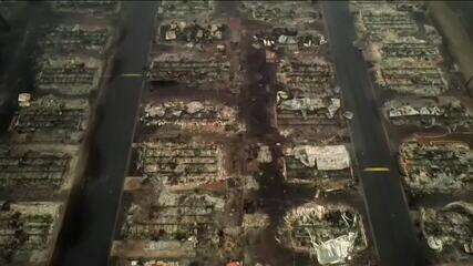 Imagens aéreas mostram destruição causada por incêndios em Oregon, EUA
