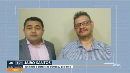 Eleições 2020: Jairo Santos é o candidato a prefeito pelo PRTB em Blumenau