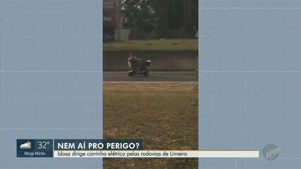 Idosa dirige carrinho elétrico pelas rodovias de Limeira