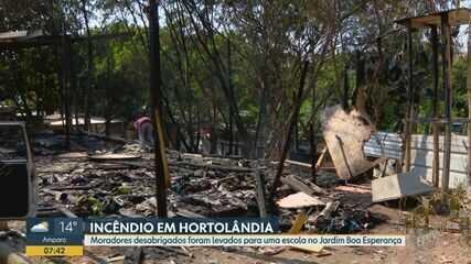 Moradores de barracos destruídos por incêndio em Hortolândia são levados para abrigo