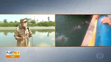 Bombeiros realizam buscas por jovem que desapareceu após pular no Rio Capibaribe
