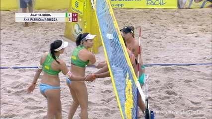 Os pontos finais de Ana Patrícia/Rebecca 2 x 1 Ágatha/Duda pelo Circuito Brasileiro de Vôlei de Praia