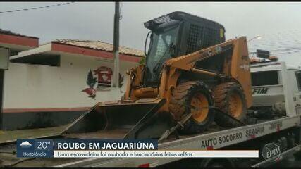 Criminosos rendem funcionários e roubam escavadeira de fábrica em Jaguariúna