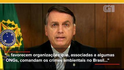 Ouça o momento de discurso de Bolsonaro na ONU em que ele acusa ONGs por queimadas na Amazônia