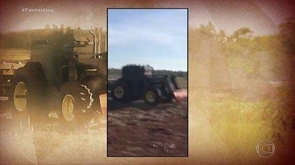 """VÍDEO: Trator é transformado em """"Caveirão"""" para atacar indígenas"""