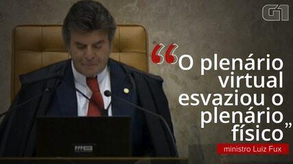 """""""O plenário virtual esvaziou o plenário físico"""", diz o ministro Luiz Fux"""