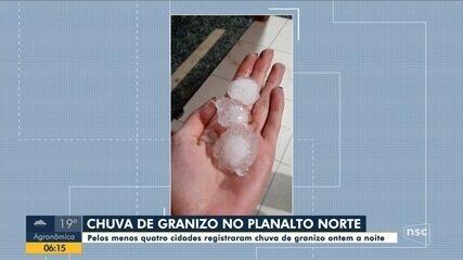 Ao menos quatro cidades de SC registram chuva de granizo