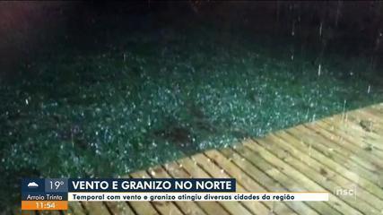 Temporal com vento e granizo atinge cidades do Norte catarinense