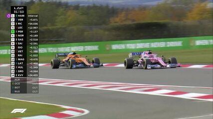 Sergio Pérez passa Lando Norris e ganha a sexta posição