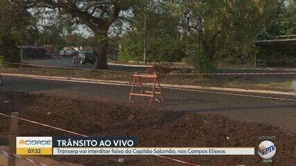 Transerp interdita faixa da Avenida Capitão Salomão em Ribeirão Preto, SP