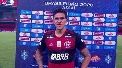 """Herói na partida, Pedro fala sobre vitória no fim sobre o Goiás: """"Um gol emocionante"""""""