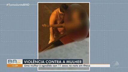 Polícia procura homem que agrediu uma mulher com nove socos no meio da rua, em Ilhéus