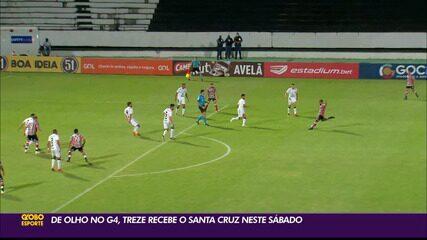 Treze recebe o Santa Cruz neste sábado, de olho no G-4 do Grupo A da Série C