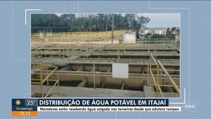 Moradores de Itajaí relatam que água está chegando salgada na torneira
