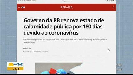 Governo da Paraíba renova estado de calamidade pública por 180 dias devido ao coronavírus