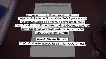 Ibama determina que os agentes que combatem incêndios no país voltem para as bases
