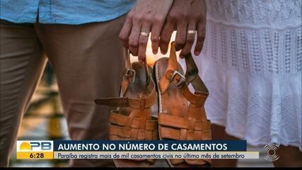 Número de casamentos civis aumenta durante mês de setembro, na Paraíba
