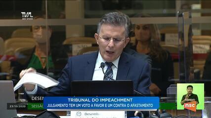 Desembargador Antônio Rizelo defende seu voto em sessão na Alesc