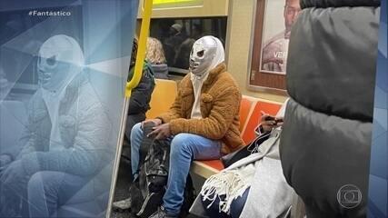 Balde, garrafa, anão da Branca de Neve: veja as máscaras malucas usadas em NY