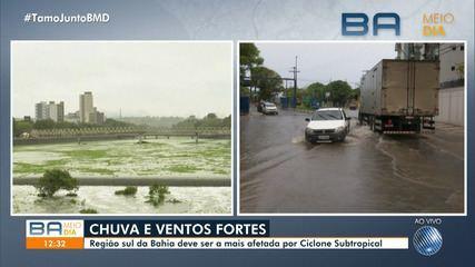 Ciclone subtropical causa chuva forte e problemas em cidades do sul da Bahia
