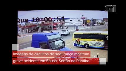 Imagens de circuito de segurança mostram grave acidente em Sousa, Sertão da Paraíba