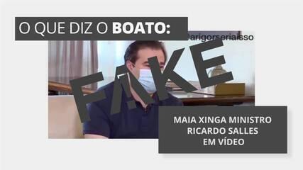 É #FAKE vídeo em que Maia xinga ministro Ricardo Salles
