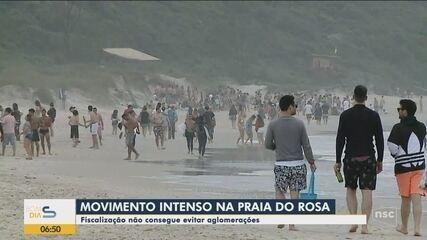 Praia do Rosa tem movimento intenso e fiscalização não consegue evitar aglomerações - vídeo de 2 de novembro