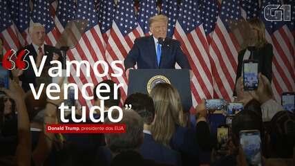 """""""Vamos vencer tudo"""", diz Trump após primeira noite de apuração de votos nos EUA"""